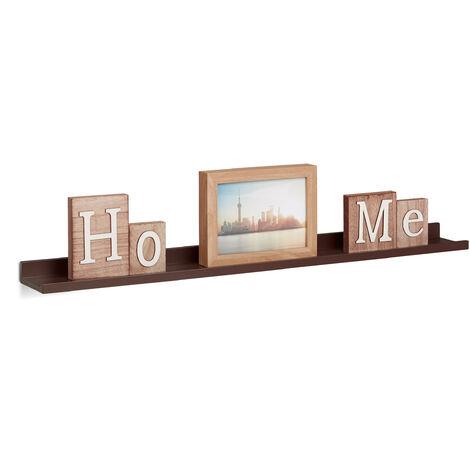 Relaxdays Narrow Floating Shelf, Wooden Hanging Shelf, MDF Bookcase, HxWxD: 3.5 x 80 x 10 cm, Brown