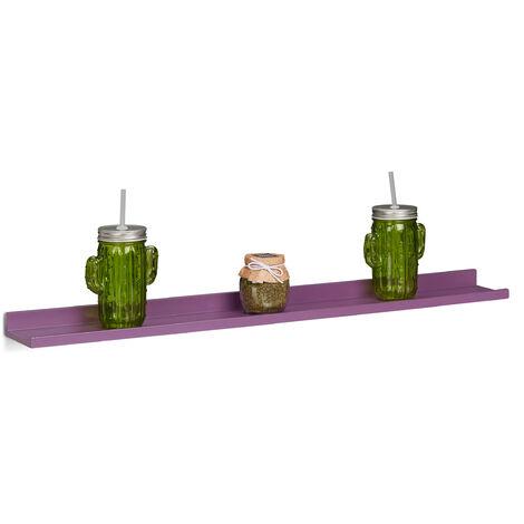 Relaxdays Narrow Floating Shelf, Wooden Hanging Shelf, MDF Bookcase, HxWxD: 3.5 x 80 x 10 cm, Purple