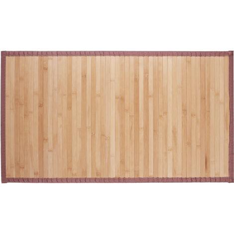 Relaxdays Natural Bamboo Bath Mat, Moisture-Resistant, Textile Border, Bathtub Rug , 80x45 cm