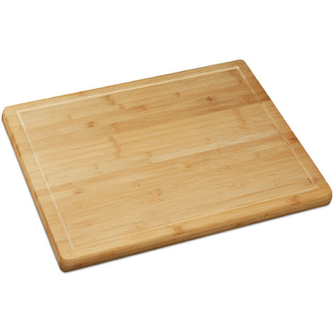 Relaxdays Natural Bamboo Chopping & Serving Board, Kitchen Chopping Board with Juice Rim, HWD: 2 x 56.5 x 50 cm