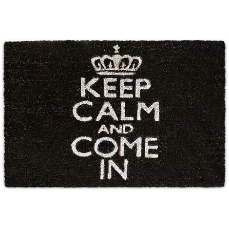 "Relaxdays Natural Coconut Fiber Coir Doormat ""Keep Calm And Come In"" Door Mat Welcome Mat w/ Anti-Slip Rubber PVC Underside, Black"