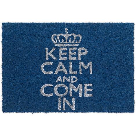 "Relaxdays Natural Coconut Fiber Coir Doormat ""Keep Calm And Come In"" Door Mat Welcome Mat w/ Anti-Slip Rubber PVC Underside, Blue"