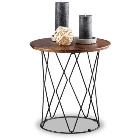 Relaxdays Natural Side Table, Round Wooden Tabletop, Metal Basket Frame, Designer Coffee Table, H x Ø: 42 x 40 cm, Vintage