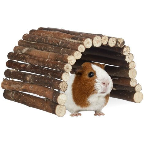 Relaxdays Natural Wooden Small Animal Rodent Tunnel Tube, Flexible, Schima, HWD 2x29x17 cm