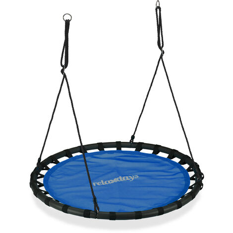 Relaxdays Nest Swing, Round Hanging Swing for Children, Height-Adjustable, Ø: 120 cm, For up to 100 kg, Blue