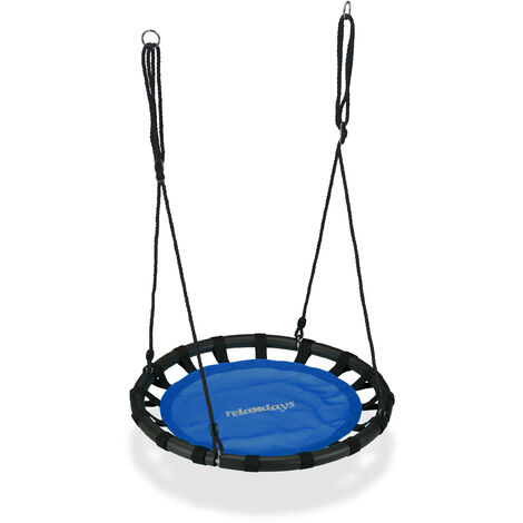 Relaxdays Nest Swing, Round Hanging Swing for Children, Height-Adjustable, Ø: 80 cm, For up to 100 kg, Blue