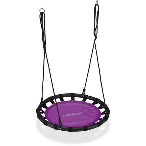Relaxdays Nest Swing, Round Hanging Swing for Children, Height-Adjustable, Ø: 80 cm, For up to 100 kg, Purple