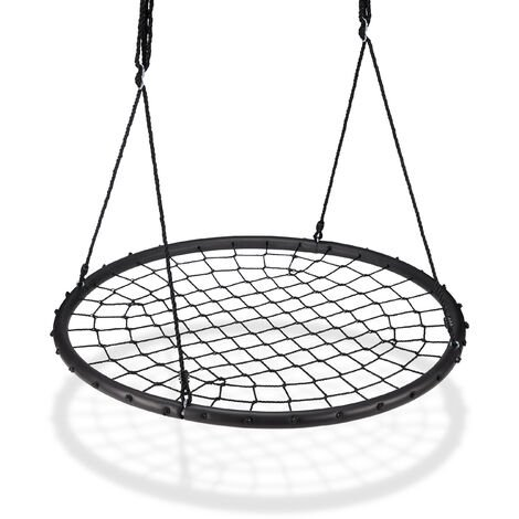 Relaxdays Nest Swing with Net, Ø120cm, Garden Swing for Children & Adults, For up to 150 kg, Adjustable, Black