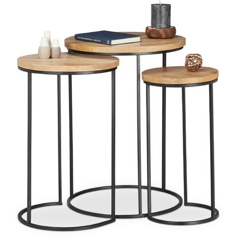 Relaxdays Nested Side Tables Set of 3, Round Tabletops, 3 Sizes, Metal and Mango Wood, Side Table, Natural