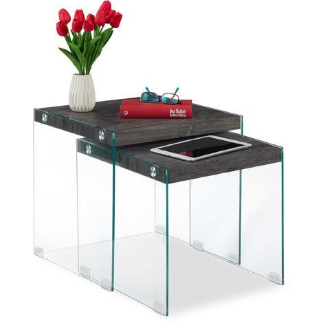 Relaxdays Nesting End Tables, Set Of 2, Black Surface, Elegant Glass Frame, Living Room, Side Tables, 40&45 cm High