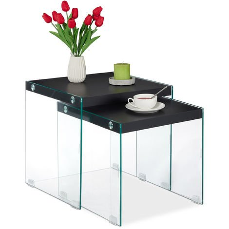Relaxdays Nesting End Tables, Set Of 2, Made Of Glass & MDF, Square Design, Living Room Table, 40-45 cm High, Black