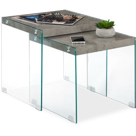 Relaxdays Nesting End Tables Set Of 2, Modern Faux Marble Look, Glass & MDF, Square, Sofa Side Tables, 40&45 cm, Grey
