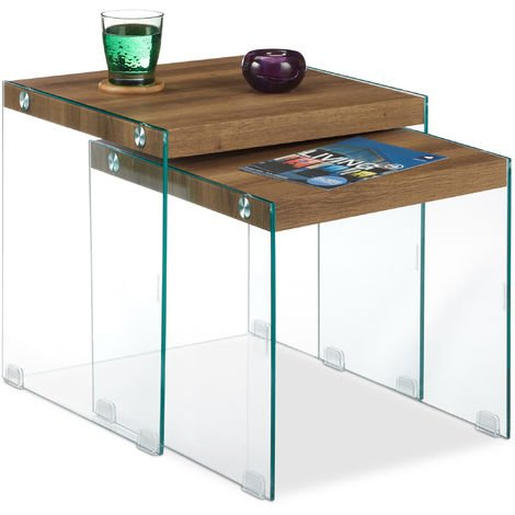 Relaxdays Nesting Side Tables In A Set Of 2, Wood Tabletop, Made Of Glass & MDF, Square End Tables, 40 & 45 cm, Brown