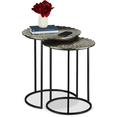 Relaxdays Nesting Table Set of 2, Retro Design, Round, Living Room, Metal, Side Table, H: 56 and 46.5 cm, Silver/Black