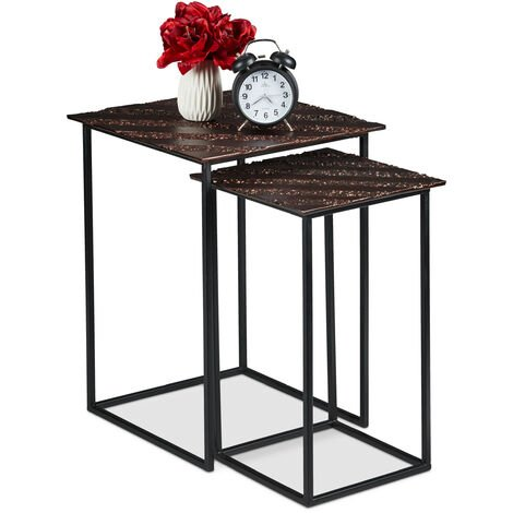 Relaxdays Nesting Table Set of 2, Retro Design, Square, Living Room, Metal, Side Table, H: 50.5 & 55.5 cm, Copper/Black