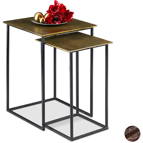 Relaxdays Nesting Table Set of 2, Retro Design, Square, Living Room, Metal, Side Table, H: 50.5 & 55.5 cm, Gold/Black