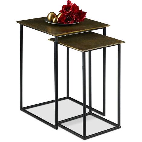 Relaxdays Nesting Table Set of 2, Retro Design, Square, Living Room, Metal, Side Table, H: 50.5 & 55.5 cm, Gold/Black