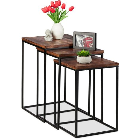 Relaxdays Nesting Table Set of 3, Square Side Tables, Mango Wood & Metal, Industrial Design, 3 Sizes, Brown