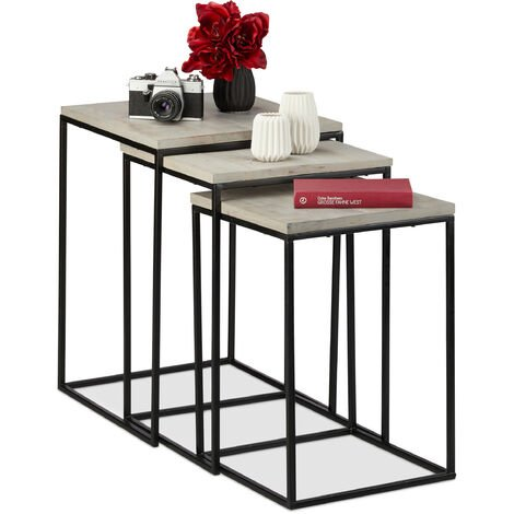 Relaxdays Nesting Table Set of 3, Square Side Tables, Mango Wood & Metal, Industrial Design, 3 Sizes, Grey
