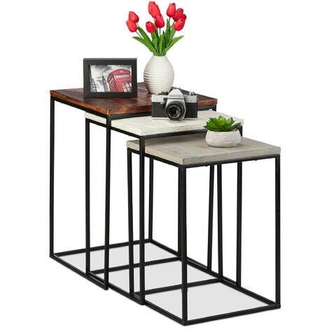 Relaxdays Nesting Table Set of 3, Square Side Tables, Mango Wood & Metal, Industrial Design, 3 Sizes, White-Grey-Brown