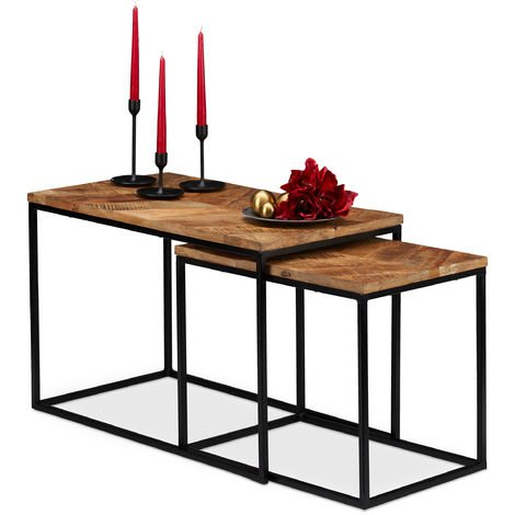 Relaxdays Nesting Tables Set of 2, Mango Wood Tops, Rectangular, Iron Frame, HxWxD: 50x77x43.5 cm, Natural/Black