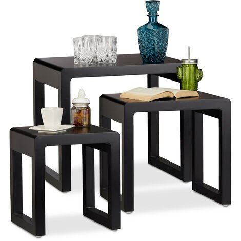 Relaxdays Nesting Tables Set of 3, Stacking End Tables, Painted Wooden Nested Tables, Elegant, Black