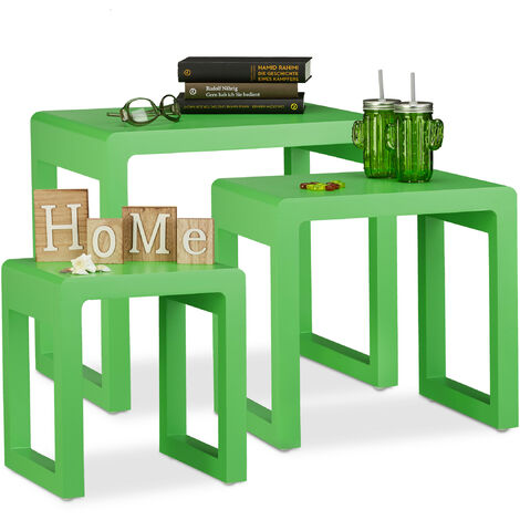Relaxdays Nesting Tables Set of 3, Stacking End Tables, Painted Wooden Nested Tables, Elegant, Green
