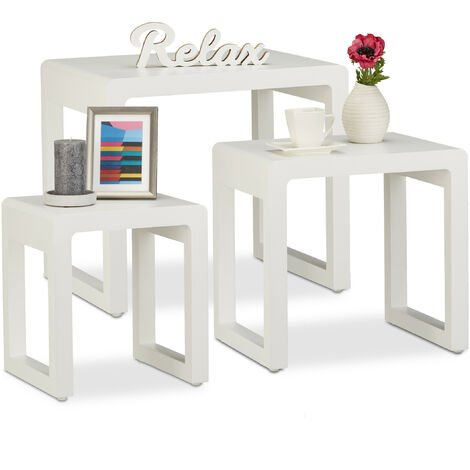 Relaxdays Nesting Tables Set of 3, Stacking End Tables, Painted Wooden Nested Tables, Elegant, White