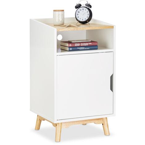 Relaxdays Nightstand with Wooden Legs, Scandinavian Design, Door, Open Compartment, Bedside Table 74 x 43 x 40 cm, White