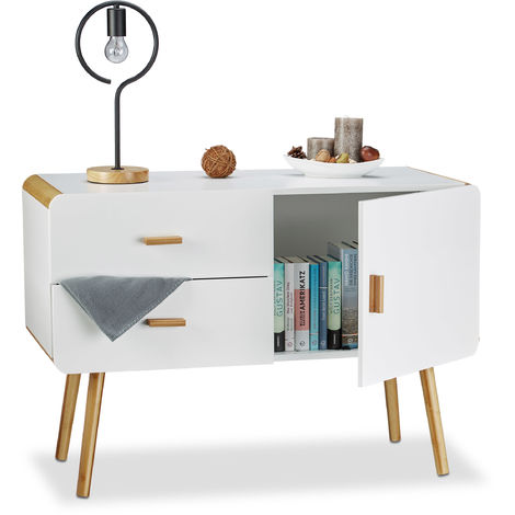 Relaxdays Nordic-Style Sideboard, Highboard Design with Feet, 2 Drawers, End Table, HxWxD: 70 x 100 x 47 cm, White