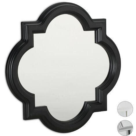 Relaxdays Nostalgic Wall Mirror, Hanging Vintage Mirror, Wall Decoration, Plastic Frame, HxW: 39.5 x 39.5 cm, Black