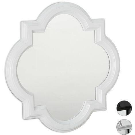 Relaxdays Nostalgic Wall Mirror, Hanging Vintage Mirror, Wall Decoration, Plastic Frame, HxW: 39.5 x 39.5 cm, White