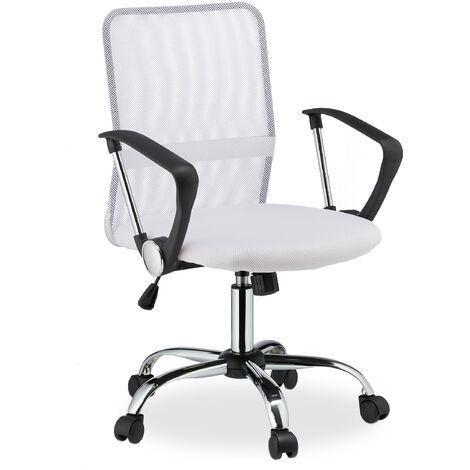 Relaxdays Office Chair, 360° Swivel, Height-Adjustable, Ergonomic, 120 kg Capacity, Mesh, HWD 101x62x62 cm, White