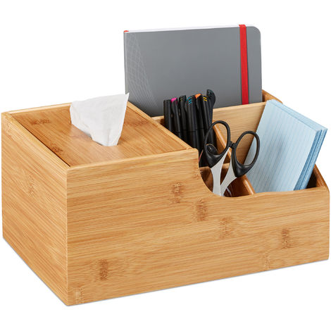 Relaxdays Office Organizer, Desk Supplies Or Make-Up, 4 Compartments & Tissue Dispenser Box, Bamboo, 14x29x19.5 cm, Natu