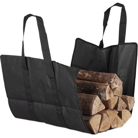 Relaxdays Open Firewood Bag, Polyester, Portable Log Holder Basket, Foldable Tote, Durable, Black