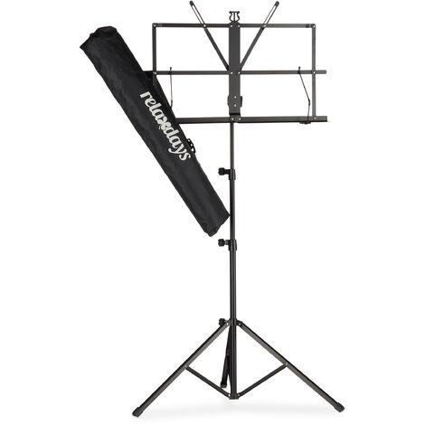Relaxdays Orchestra Music Stand, Sheet Music Rest & Holder, Light & Foldable Desk, 60-130 cm, Black