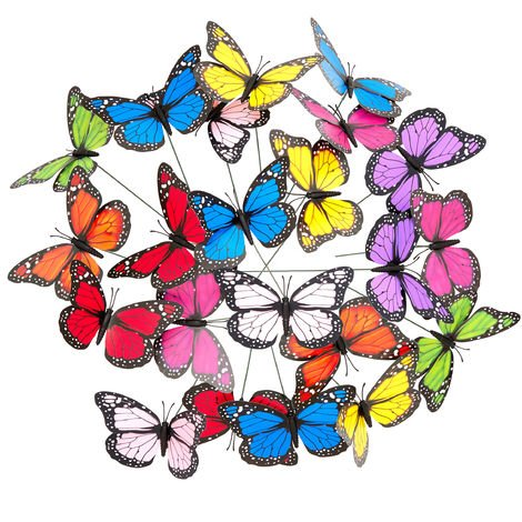 Relaxdays Ornamental Garden Butterflies, Set of 36, Flowerpot Decoration, Decorative Outdoor Butterfly Stakes, Metal Sticks, PVC, Multicoloured