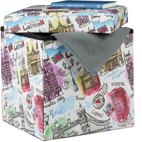 Relaxdays Ottoman with Storage Space, Faux Leather Storage Box, Foldable Cube with London Print HWD 38 x 38 x 38 cm, Colourful