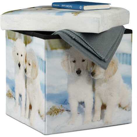 Relaxdays Ottoman with Storage Space, Faux Leather Storage Box, Foldable Cube with Puppies Print HWD 38 x 38 x 38 cm, Colourful