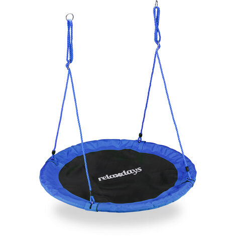 Relaxdays Outdoor Nest Swing for Kids & Adults, Ø 110 cm, For up to 100 kg, Round Swing, Blue