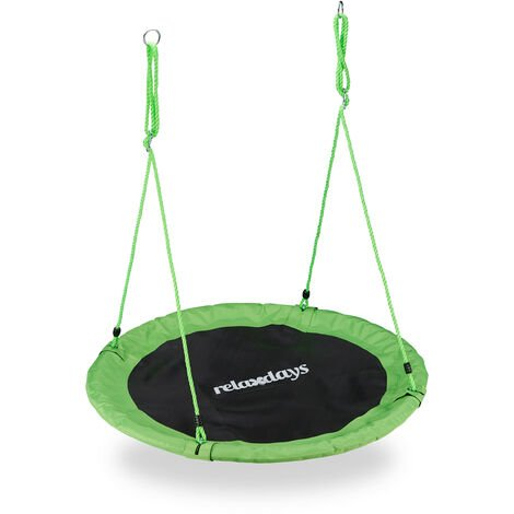 Relaxdays Outdoor Nest Swing for Kids & Adults, Ø 110 cm, For up to 100 kg, Round Swing, Green