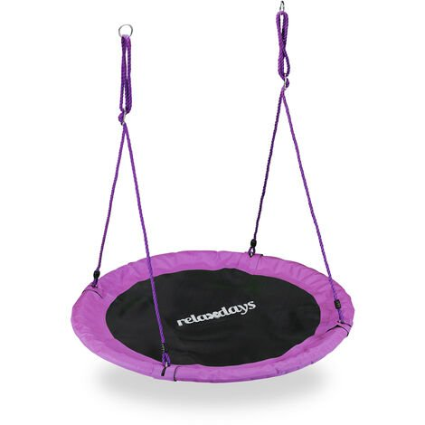 Relaxdays Outdoor Nest Swing for Kids & Adults, Ø 110 cm, For up to 100 kg, Round Swing, Purple