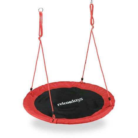 Relaxdays Outdoor Nest Swing for Kids & Adults, Ø 110 cm, For up to 100 kg, Round Swing, Red