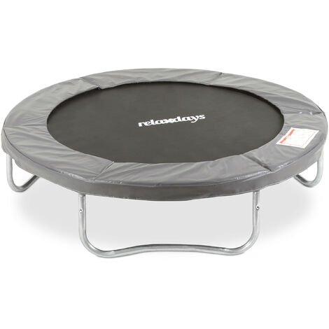 Relaxdays Outdoor Trampoline, Garden Rebounder for Kids & Adults, 150 kg, With Rim Cover, Ø 183cm, Grey