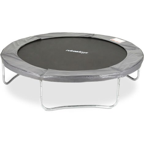 Relaxdays Outdoor Trampoline, Garden Rebounder for Kids & Adults, 150 kg, With Rim Cover, Ø 244cm, Grey