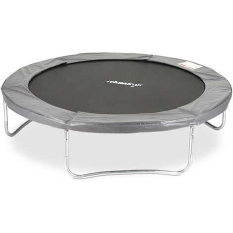 Relaxdays Outdoor Trampoline, Garden Rebounder for Kids & Adults, 150 kg, With Rim Cover, Ø 305cm, Grey