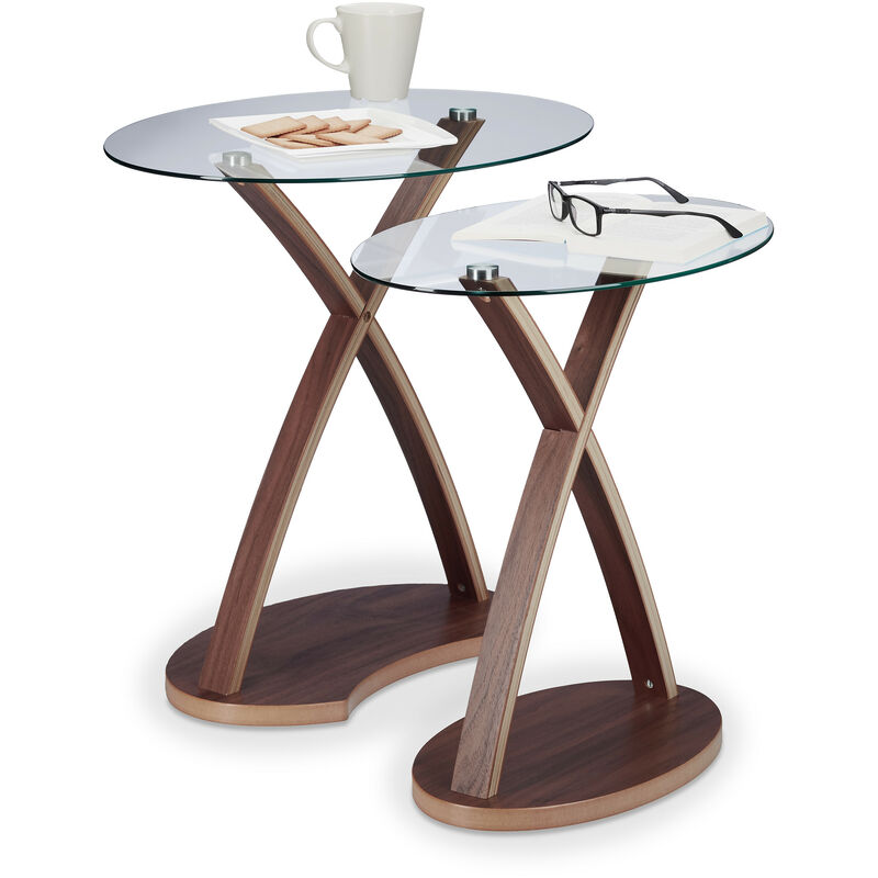 Relaxdays Oval Side Table Set Of 2 Glass Table With Wooden Legs