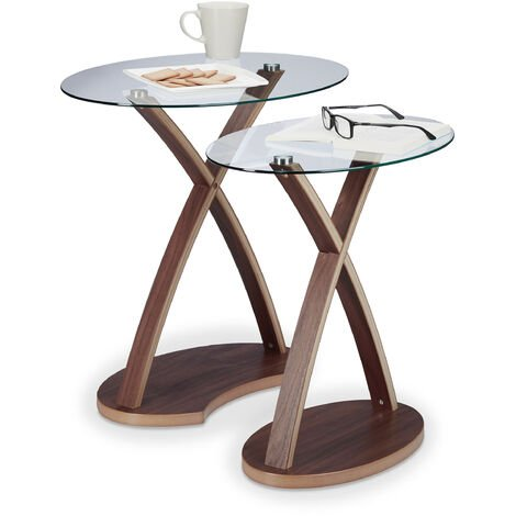 Relaxdays Oval Side Table Set of 2, Glass Table with Wooden Legs, Small End Tables, Modern Design, 2 Sizes, Natural