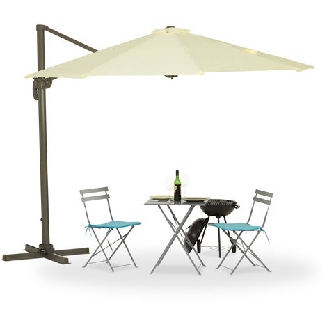 Relaxdays Overhanging Parasol, Crank, Stand, UV-Protection, Sunshade, Waterproof, 360° Swivel, Polyester Cover, 3m Ø, Beige