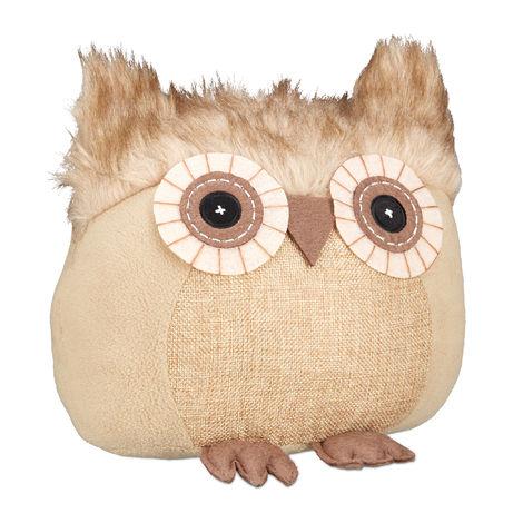 Relaxdays Owl Doorstopper, Decorative Floor Bumper, Standing, Filled Fabric Door Stop, Brown
